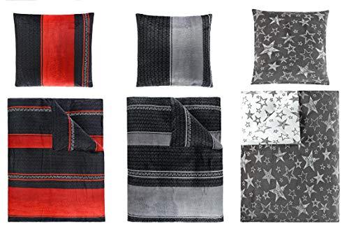 BaSaTex Winterbettwäsche Cashmere Touch, ähnlich Nicky Teddy Corals Fleece, in 2 Größen und 3 Designs 4tlg Set 155x220 cm Stella Taupe