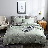 OLDBIAO Ropa de cama gris y verde envejecido, funda nórdica de 220 x 240 cm + funda de almohada de 80 x 80 cm, funda de edredón doble para hombre y mujer