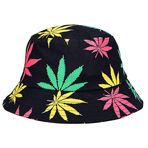 BESTOYARD Fischerhut Faltbare Eimer Hut Outdoor Sonnenhut mit Blätter Druck für Frauen und Männer (Colorful)