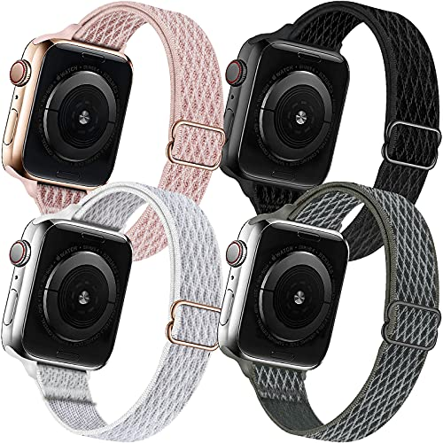 ENJINER 4 Pack Slim Bands Compatible with Apple Watch 38mm 40mm 42mm 44mm Band iWatch Series 6 5 SE 4 3 2 1 Strap, Women Nylon Stretchy Braided Elastic Sport Solo Loop Thin Narrow Wristband, 42 44mm F