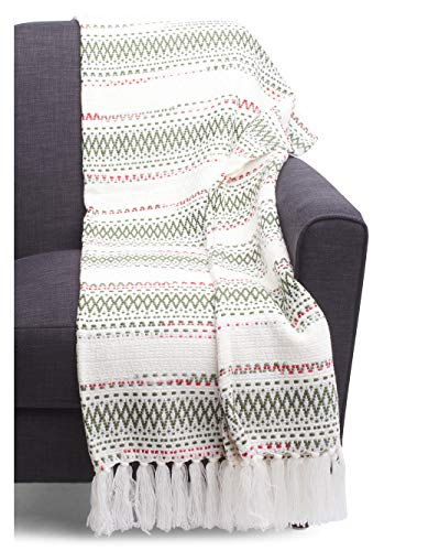 Aspen Home Knit Throw Blanket Nordic Scandinavian Style Geometric Winter Pattern Christmas Colors Green and Red on White - Blaire Global