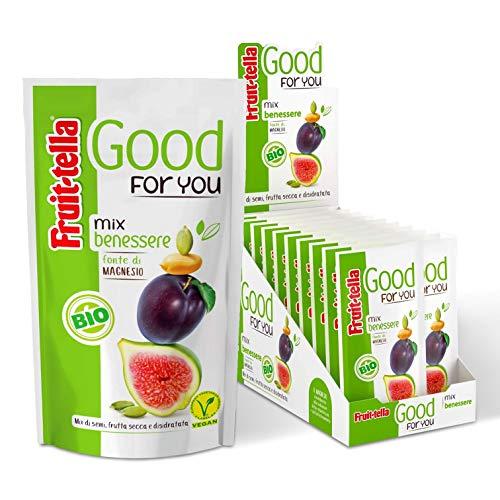 Fruittella Good For You Mix Benessere Bio, Mix di Frutta Secca, Frutta Disidratata e Semi Biologico, Fonte di Magnesio, Formato Scorta da 20 Snack Monodose da 35 gr