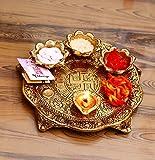 CHHARIYA CRAFTS Metal Pooja Thali with Diya - Golden