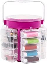 Okayji Plastic Sewing Storage Box Tailor Kit Case Organizer Caddy Needle Thread Button Set