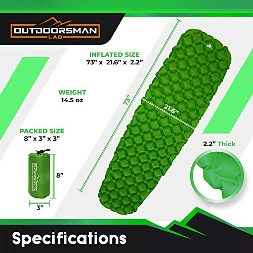 Outdoorsman Lab - Backpacking Sleeping Pad - Ultralight Inflatable Sleeping Mat, Ultimate for Camping, Hiking - Airpad, Inflating Bag, Carry Bag, Repair Kit - Compact & Lightweight Air Mattress