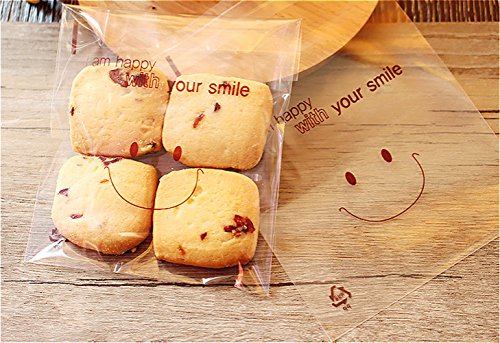 HOT SEAL 200pcs Food Grade Frosted Cute Smile Face Self Adhesive Candy Cookie Bakery Biscuit OPP Plastic Bags for Homemade Baking Gift Packaging (200, Smile 10x10cm)