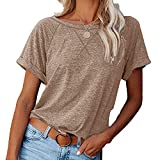 Primavera Y Verano Nueva Camiseta Casual De Manga Corta con Cuello Cruzado A Juego De Color para Mujer