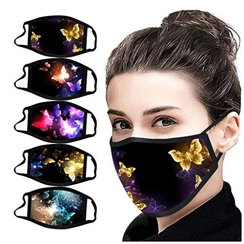 Eaylis 5PC Multifunktionstuch Schmetterling Maske Waschbar Wiederverwendbar Stoffmaske Baumwolle Mund-Nasen Bedeckung Verstellbar Atmungsaktiv Halstuch Schals für Herren Damen