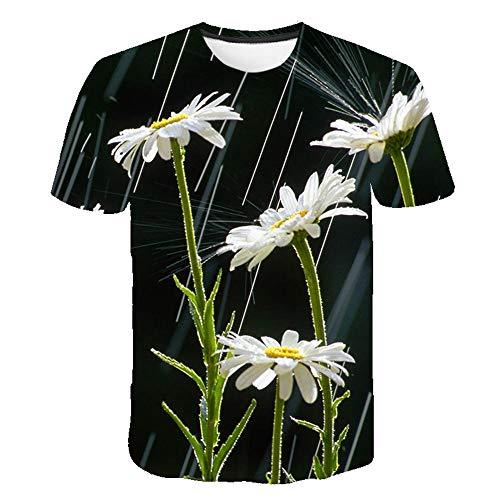 T Shirt À Fleurs Imprimé pour Hommes Col Rond Harajuku Hip Hop Fun Tshirts Demi,Manches Rétro Rue Femmes Manches Courtes,Couleur4 4XL