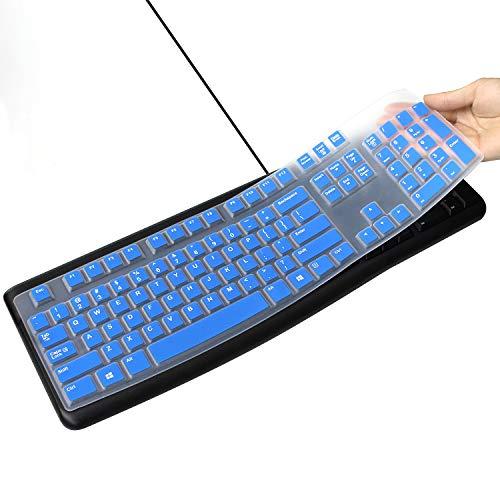 Silicone Keyboard Cover for Logitech K120 & MK120 Ergonomic Desktop USB Wired Keyboard Ultra Thin Protective Skin (for Logitech MK120 K120, Blue)