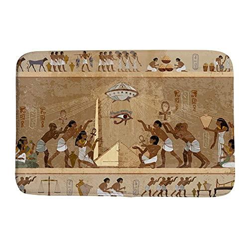 NCH UWDF Tappeto da Bagno Tappeti da Zona Tappetino da Vasca Tappeti da Pavimento Bagno Antico Egitto Paleocontatto Affreschi Murales Zerbino Beige 15,7 x 23,5 Pollici