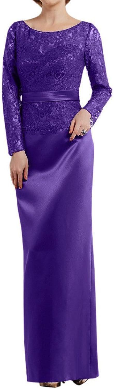 Angel Bride Elegant Lace Long Sleeve Formal Floor Length Satin Evening Dress