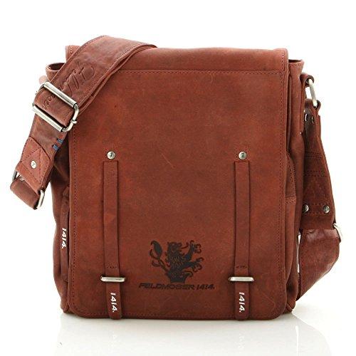 Feldmoser 1414 Unisex Klassisch Stylisch Umhängetasche Schultertasche Ledertasche Laptoptasche aus Leder (Rot, M)
