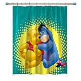 Elite ETSPY Classic Animeted TV Series Shower Curtain, Winnie The Pooh and Eeyore, Waterproof Mildew-Resistant Polyester Shower Curtain Set with Hooks, 71X 71 in, Multi