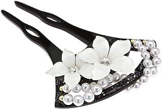 (ソウビエン) かんざし バチ型簪 黒 ブラック 白い花 ラメ パールビーズ ラインストーン フォーマル 髪飾り