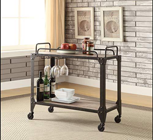 Acme Furniture ACME Caitlin Rustic Oak and Black Serving Cart