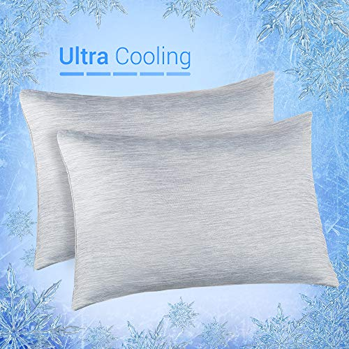 Elegear Cooling Pillowcases for Night Sweats and Hot Flashes, Japanese Q-Max 0.4 Cooling Fiber, Breathable Soft Both Sides Pillow Case with Hidden Zipper, Set of 2, Gray (Standard (20
