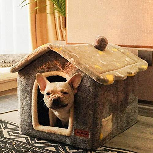 Abnehmbares Katzenbett Haus Zwinger Haustier Bett Katzen Teppich Haus Hundebett Sofa Warmes Hundehaus Kissen Haustier Produkt Katzenhaus-Grauer Mond, S.