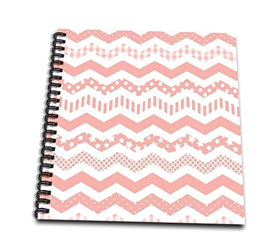 3dRose db_183973_3 Coral Chevron Zigzag Pattern with A Twist Cute Patterned Zig Zags Mini Notepad, 4