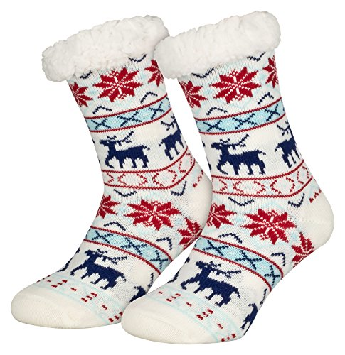 Piarini 1 Paar Kuschelsocken mit ABS Sohle - warme Damen Socken Hüttensocken - Wintersocken mit Anti Rutsch Noppen - Deer-Weiss (One-Size)