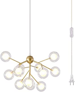 Dellemade DD00134 Plug in Sputnik Chandelier 12-Light Golden Pendant Light with 16 ft Cord Bulbs Included