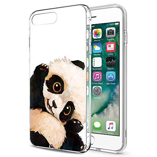Pnakqil iPhone SE 2020/8/7 Cover Trasparente, Premium Custodia Silicone con Disegni Leggero Ultra Sottile TPU Morbido Antiurto 3D Pattern Bumper Case per iPhone SE 2020/8/7, Panda