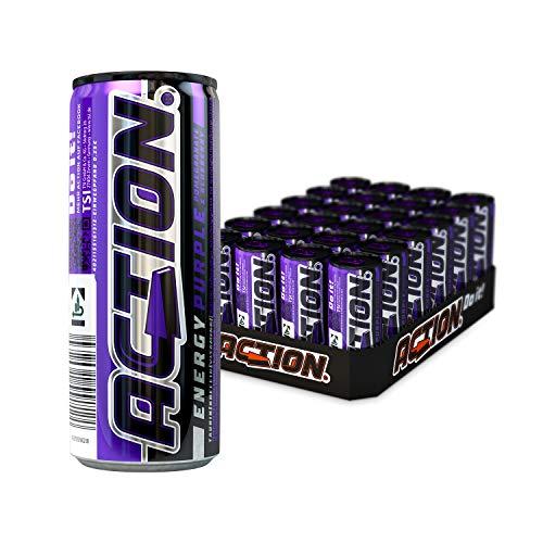 ACTION Energy Purple EINWEG, 24 x 250 ml, inkl. Pfand, Klassischer Energy Drink mit Granatapfel-Heidelbeer Geschmack, 32 mg Koffein / 100 ml, erhöhter Koffeingehalt