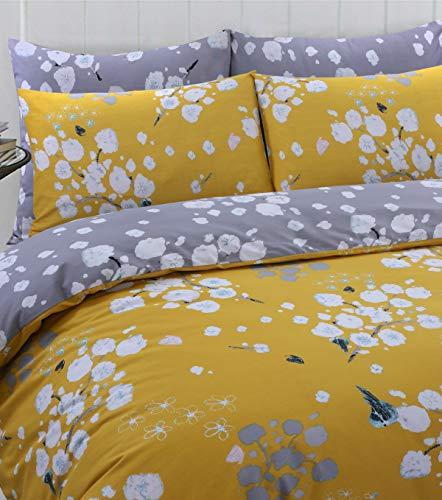 Linen Zone 100% Cotton Reversible Printed Duvet Cover Set, Double - Blossom Mustard