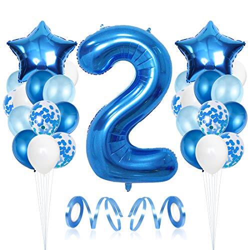 2er Cumpleaños Bebe Globos Decoracion, Cumpleaños 2 Año Bebe Niño, Globos Numeros 2 Decoracion, Globos de Confeti de Latex Boy Ballon Party Cumpleaños 2 Año