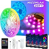 Micomlan LED Strip Lights,Music Sync Color Changing RGB LED Strip Built-in Mic, Bluetooth Controlled LED Lights Rope Lights, 5050 RGB LED Light Strip(APP+Remote+Mic+Music+3 Button) (20FT)