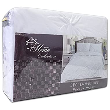 Sweet Home Collection 3 Piece Luxury Pinch Pleat Pintuck Fashion Duvet Set, King, White