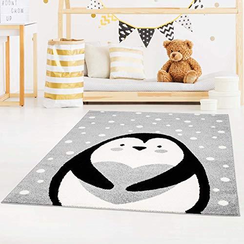 carpet city Kinderteppich Bubble Kids Flachflor mit Pinguin, Herz, weiß gepunktet in Grau für Kinderzimmer; Größe: 80x150 cm