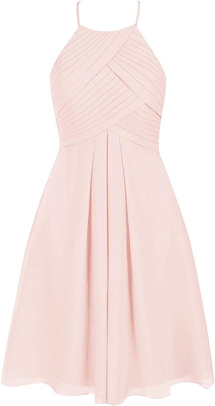Women's Short Halter Neck Chiffon Bridesmaid Dress 2020 Pleated Top Formal Evening Party Dress B041