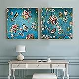 American Lucky Flower Bird Green Canvas Poster Print Arte Abstracto Cuadros De Pared para Salon De Estar Decoracion De Plantas Pintura para El Hogar 50x50cmx2 Sin Marco