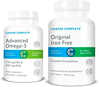Cooper Complete - Original Multivitamin Iron Free and Advanced Omega-3 - Daily Multivitamin and Mineral Supplement Plus Fish Oil Supplement - 30 Day Supply