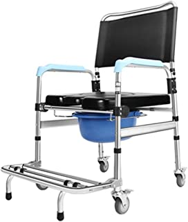 LZLYER Shower Chair Toilet Bathtub Portable Bedside Commode Adjustable Height Shower Toilet Chair,with Padded Seat, Brakes and Footrests,for Disabled Person, Elderly,Pregnant Women