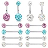 ORAZIO 14G Nipplerings Nipple Tongue Belly Button Rings Stainless Steel Rhinestone Crystal Disco Ball Barbell Body Piercing Jewelry