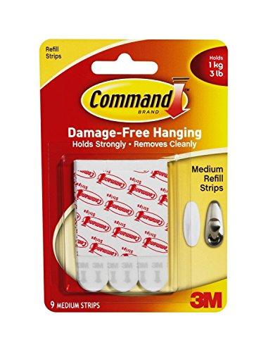 3 M Command Medium Montage/bandes de rechange, lot de 9 bandes moyennes 9 attaches moyennes