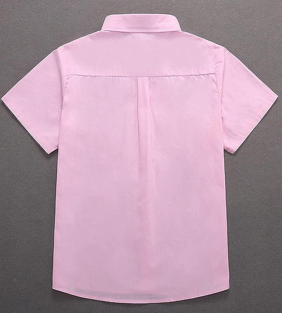 SHOOYING Boys Short-Sleeved Cotton Shirt School Uniform White Basic Shirt