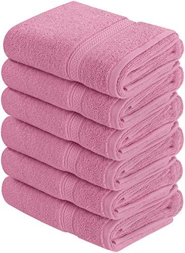 Utopia Towels - Handtücher Set aus Baumwolle 600 GSM - 100% Baumwolle, 41 x 71 cm - 6er Pack (Rosa)