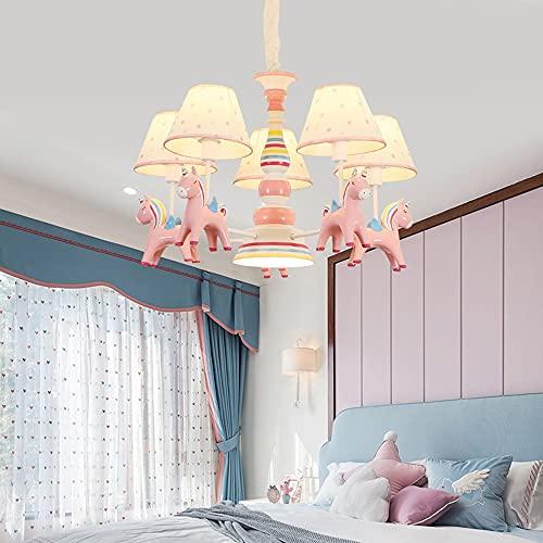Habitación para niños Lámpara de araña Iluminación de dibujos animados moderno resina pony decoración colgante lámpara niña princesa habitación dormitorio diversión parque rosa techo luz 3heads y 5hea