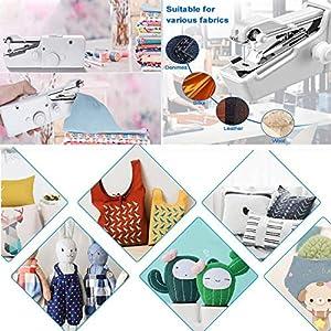Aoweika Mini Nähmaschine, Handheld Elektrisch Handnähmaschine Portable Hand Sewing Machine Schnellreparatur Stoff Leder Denim Leinwand für Kinder Anfänger DIY 25 Pcs (A)