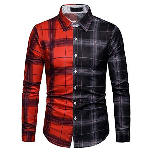 ReooLy Men's Long Sleeve Lattice Plaid Painting Patchwork Large Size Top Blouse Shirts