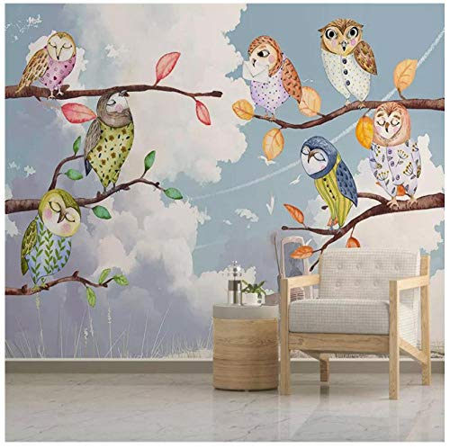 Fotobehang 3D gepersonaliseerd cartoon uil dier wolk wit wand PVC zelfklevend slaapkamer woonkamer kinderkamer achtergrond wanddecoratie schilderij 400(w)x280(H)cm