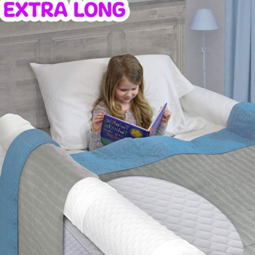 (1-Pack) Extra Long Bed Rail for Toddler | Soft Foam Bed Bumper for Kids | Baby Bed Guard | Child Bed Safety Side Rail | Designed to fit Twin, Full, Queen & Kind Size Beds