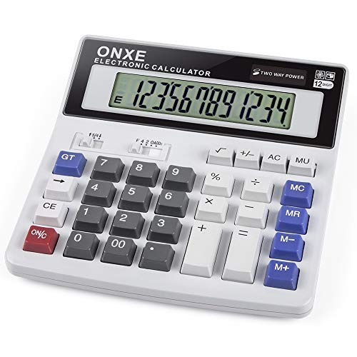 Calculator, ONXE Standard Function Scientific Electronics Desktop Calculators, Dual Power, Big Button 12 Digit Large LCD Display, Handheld for Daily and Basic Office (White)