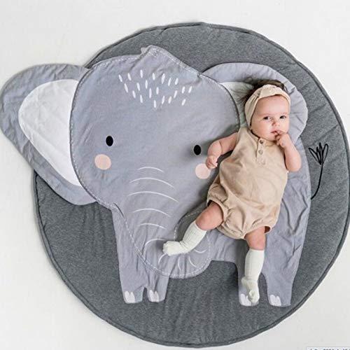 Baby Krabbeldecke, Spiel Matten Baumwolle, faltbare baby bodenmatte, Spielmatte Baby Geruchlos, Baby Teppich, Baumwolle Weiche Schlafteppich, Cartoon Baby Spielmatte,Cartoon-Tier-Teppich(Elefant)