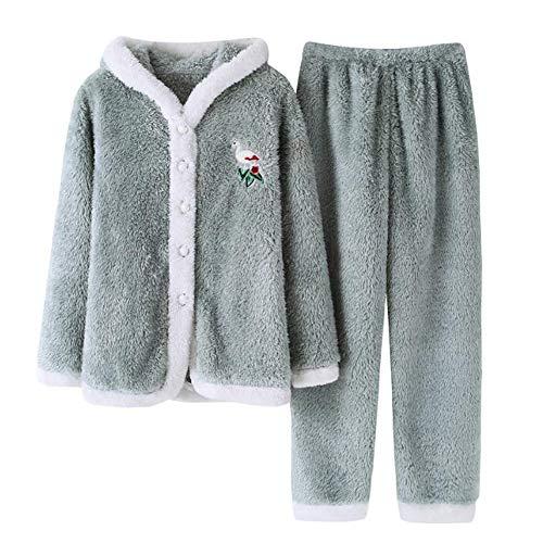 Damen Mädchen Zweiteilig Schlafanzug Lang-Arm Pajamas Set Süß Design mit Haube Nachthemd Nachtwäsche für Winter L