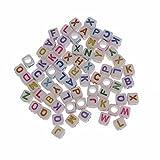 Perlin - 300 Buchstaben Perlen, Buchstabenperlen 6mm Würfel ''A-Z'' mit Bunte Buchstaben, Alphabet Beads, Perlenmischung Perle zum fädeln für Armbänder Auffädeln, Halsketten D111 x3