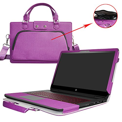 "OMEN 17 Case,2 in 1 Accurately Designed Protective PU Leather Cover + Portable Carrying Bag for 17.3"" HP OMEN 17 17-w000 Series Gaming Laptop(Not fit OMEN 17 17-an000),Purple"